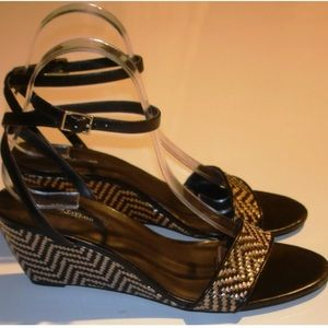 Black and beige ankle strap wedge sandals